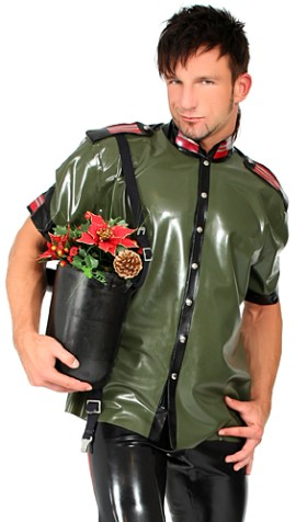 Long Latex Military Shirt